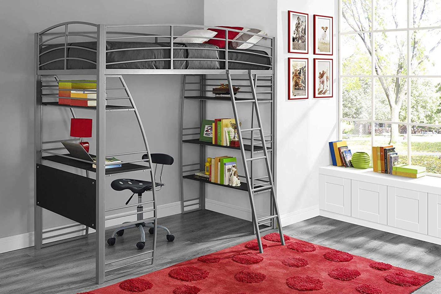 Land Of Beds Reviews Dhp Studio Loft Bunk Bed Over Desk And Bookcase