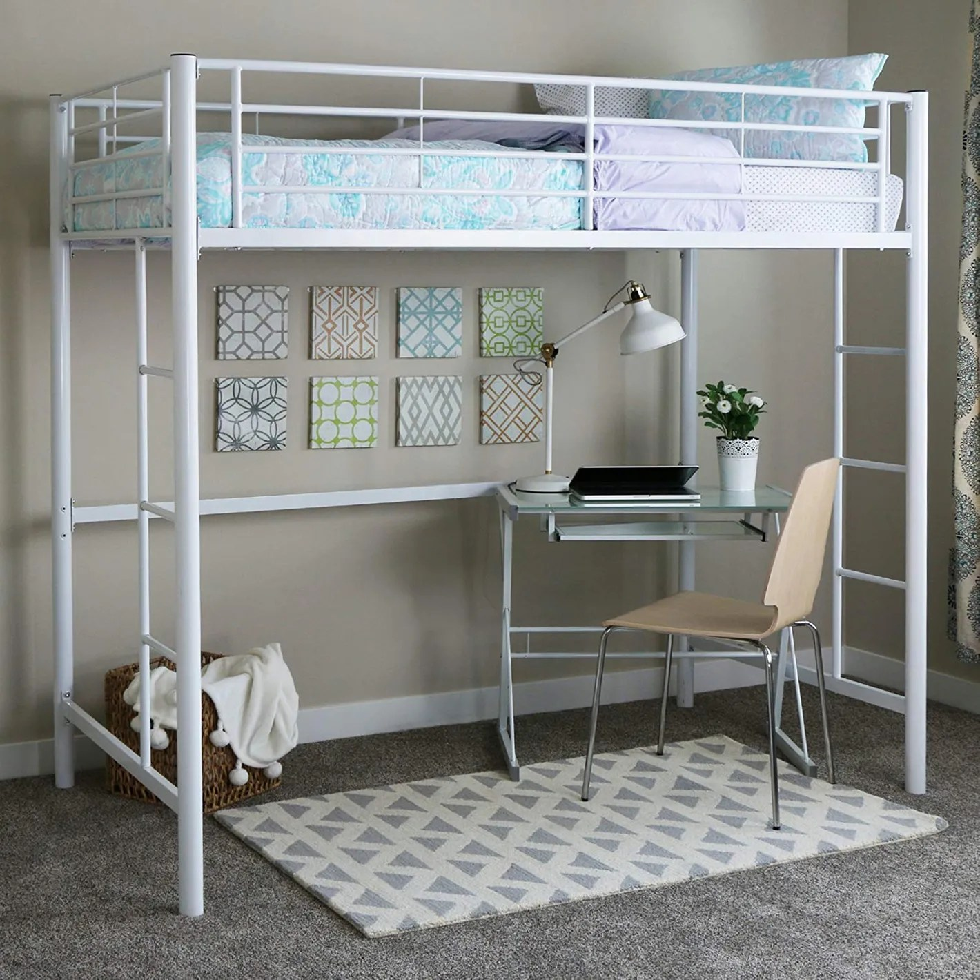 Land Of Beds Reviews Walker Edison Twin Metal Loft Bed