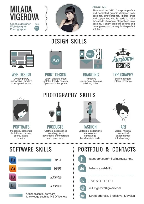 Curriculum Vitae Sample Ppt Slideist Free Cv Resume Powerpoint Template 30 Examples Of Creative Graphic Design Resumes