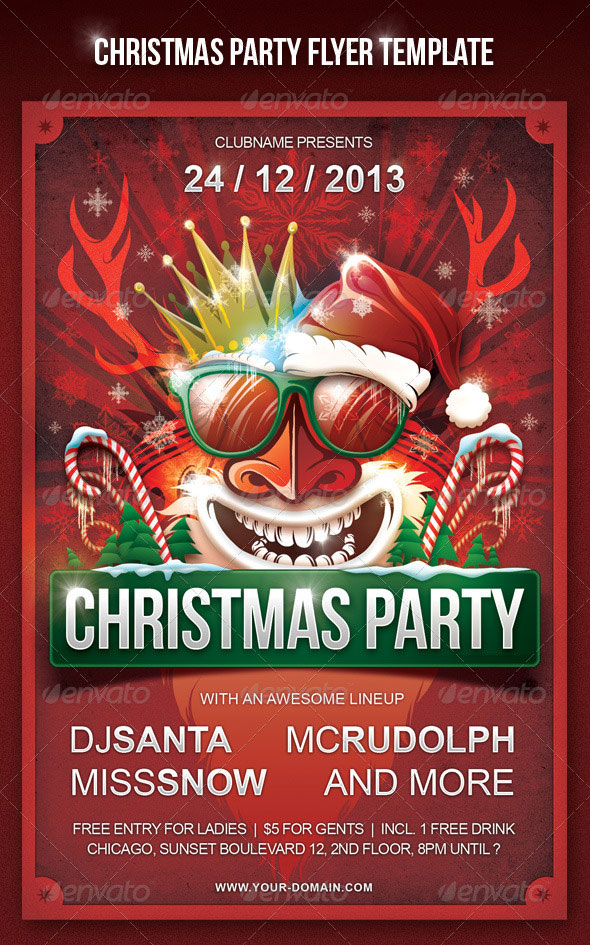 30 Christmas Holiday PSD  AI Flyer Templates Pixel Curse - party brochure template