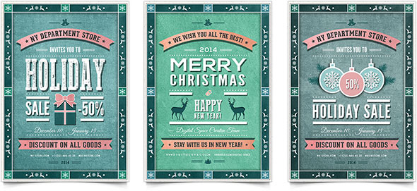 30 Christmas Holiday PSD  AI Flyer Templates Pixel Curse - retro flyer template