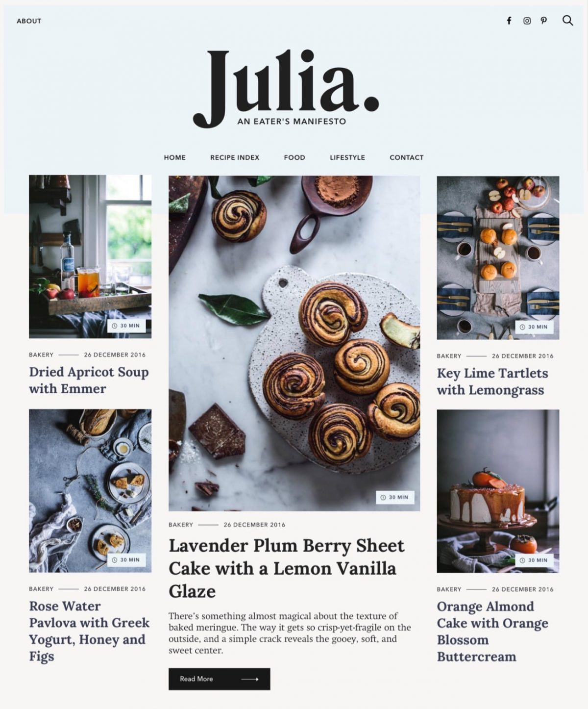 Julia Food Blog Wordpress Theme By Pixelgrade