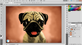 Finalising in PS Digital Art Dog Pug PixelPinch