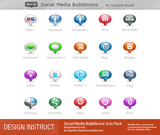 Social Media Bubble Icons Best Free Social Media Icon Pack Collection