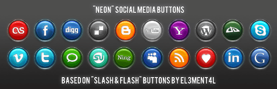 neon social media buttons by simekonelove d2vvx1s Best Free Social Media Icon Pack Collection
