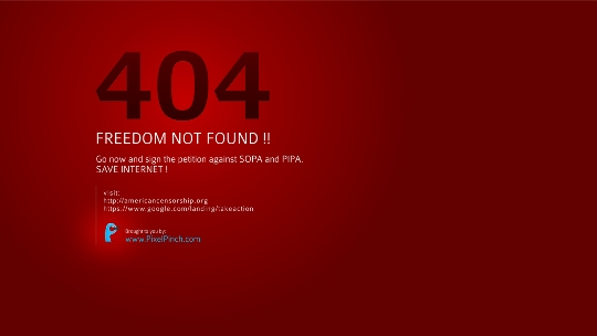 404 Freedom Not Found Say No To SOPA 1350x760 PixelPinch Wallpapers and Facebook Cover to protest SOPA & PIPA act