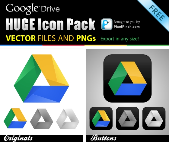 Google Drive Huge Icon Pack Free 1 New Google Drive Free Vector and PNG Icon Pack 2012