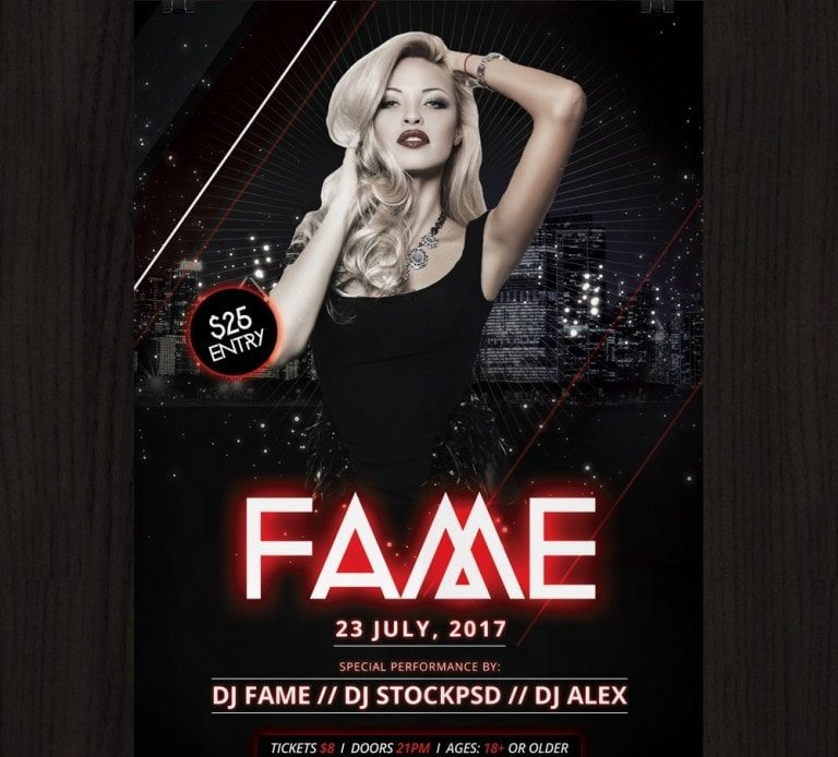 Fame \u2013 Download Free PSD Photoshop Flyer Template - Pixelsdesignnet
