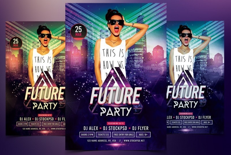 Future Party \u2013 Free Photoshop Flyer Template - Pixelsdesignnet