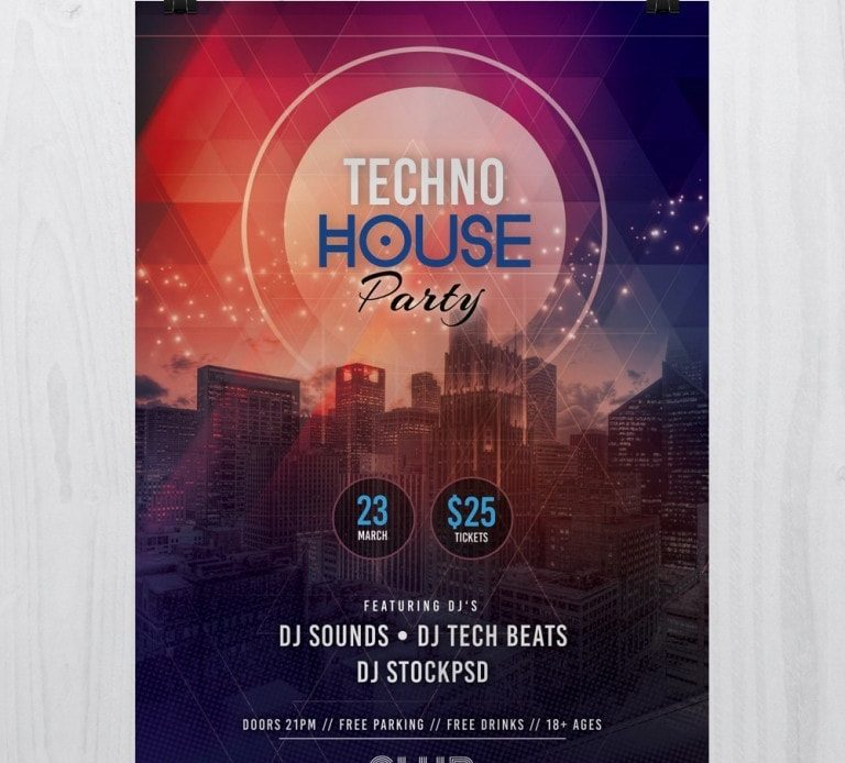 Tech House Party \u2013 Free PSD Flyer Template - Pixelsdesignnet