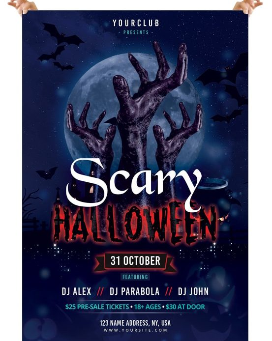 Scary Halloween - Free PSD Photoshop Flyer Template - Pixelsdesignnet