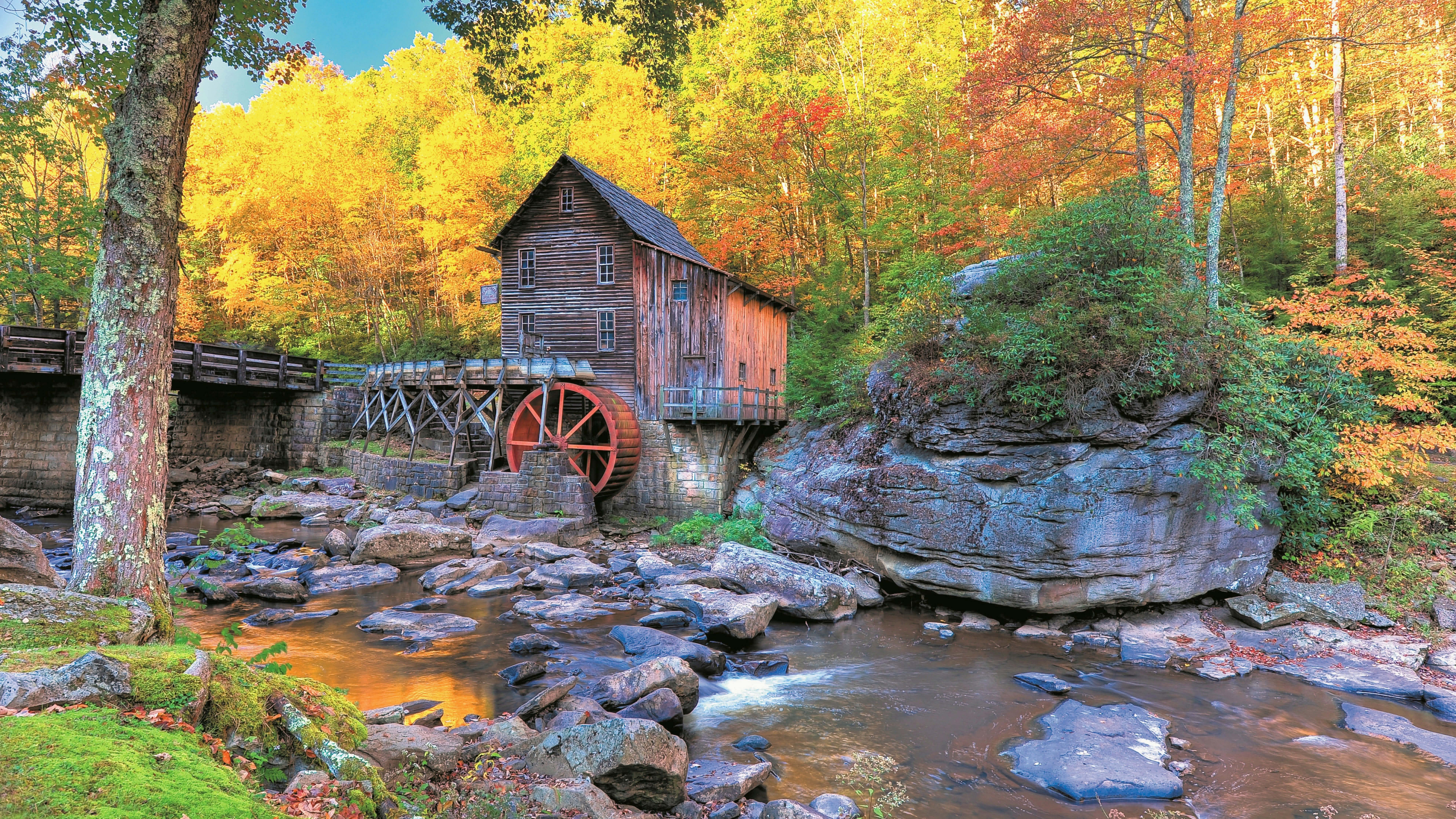 Cars Hd Mobile Wallpapers Autumn In Glade Creek Grist Mill Uhd 8k Wallpaper Pixelz