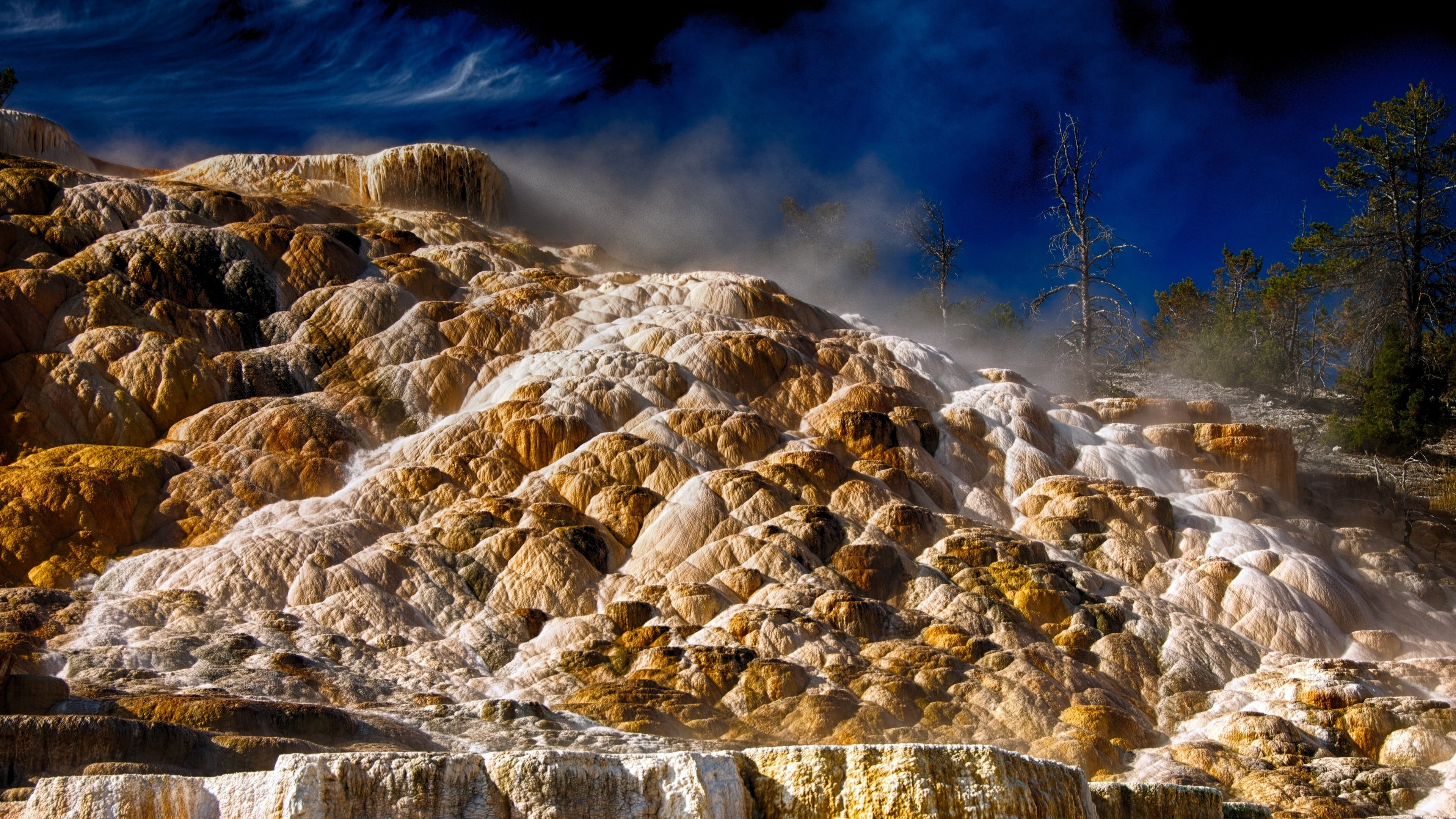 Ultra Hd Wallpapers Cars Mammoth Hot Springs Yellowstone National Park Wyoming Uhd