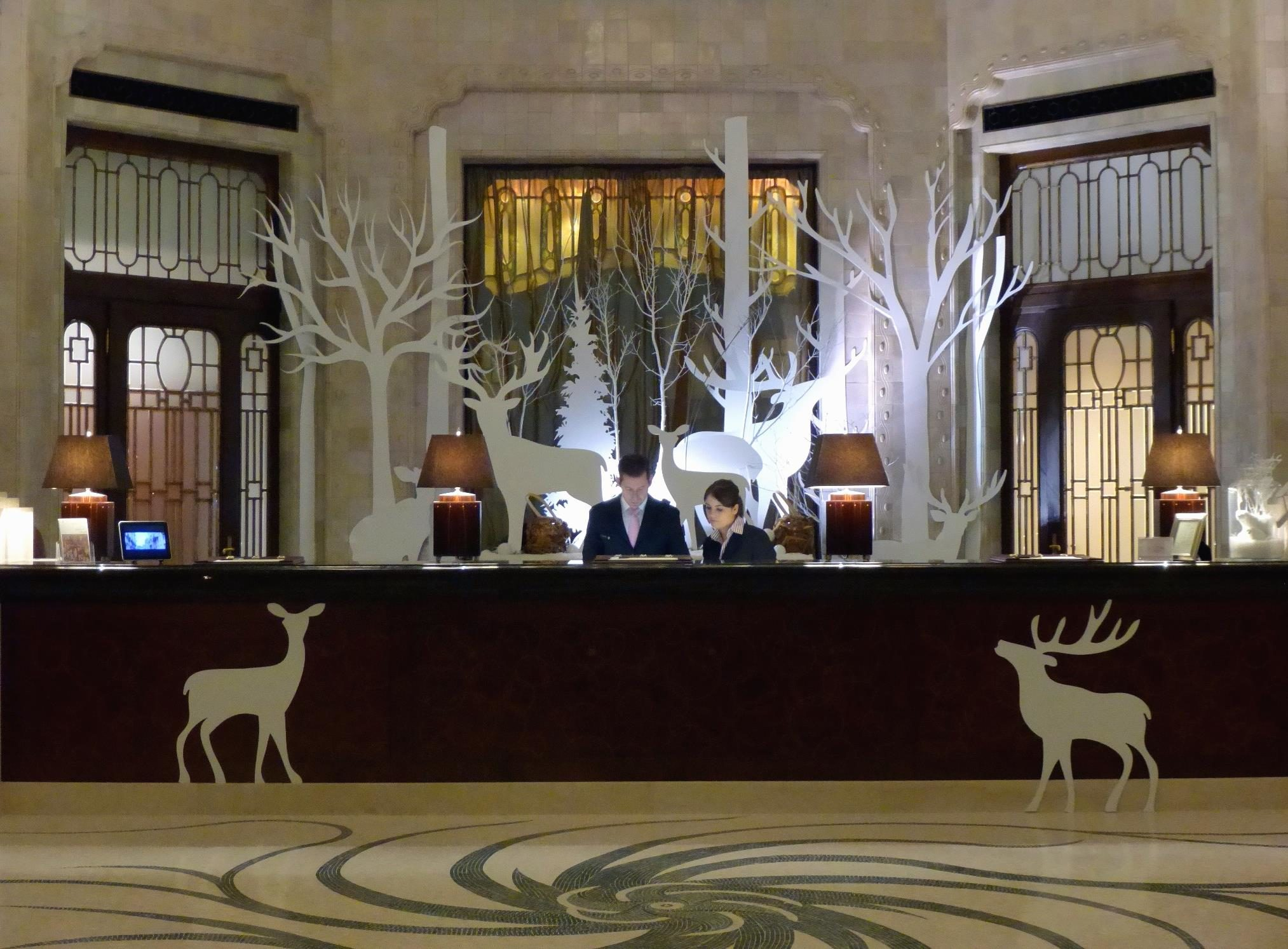 Decoration Hotel Free Picture Front Desk Decoration Winter Lamp Hotel Deer
