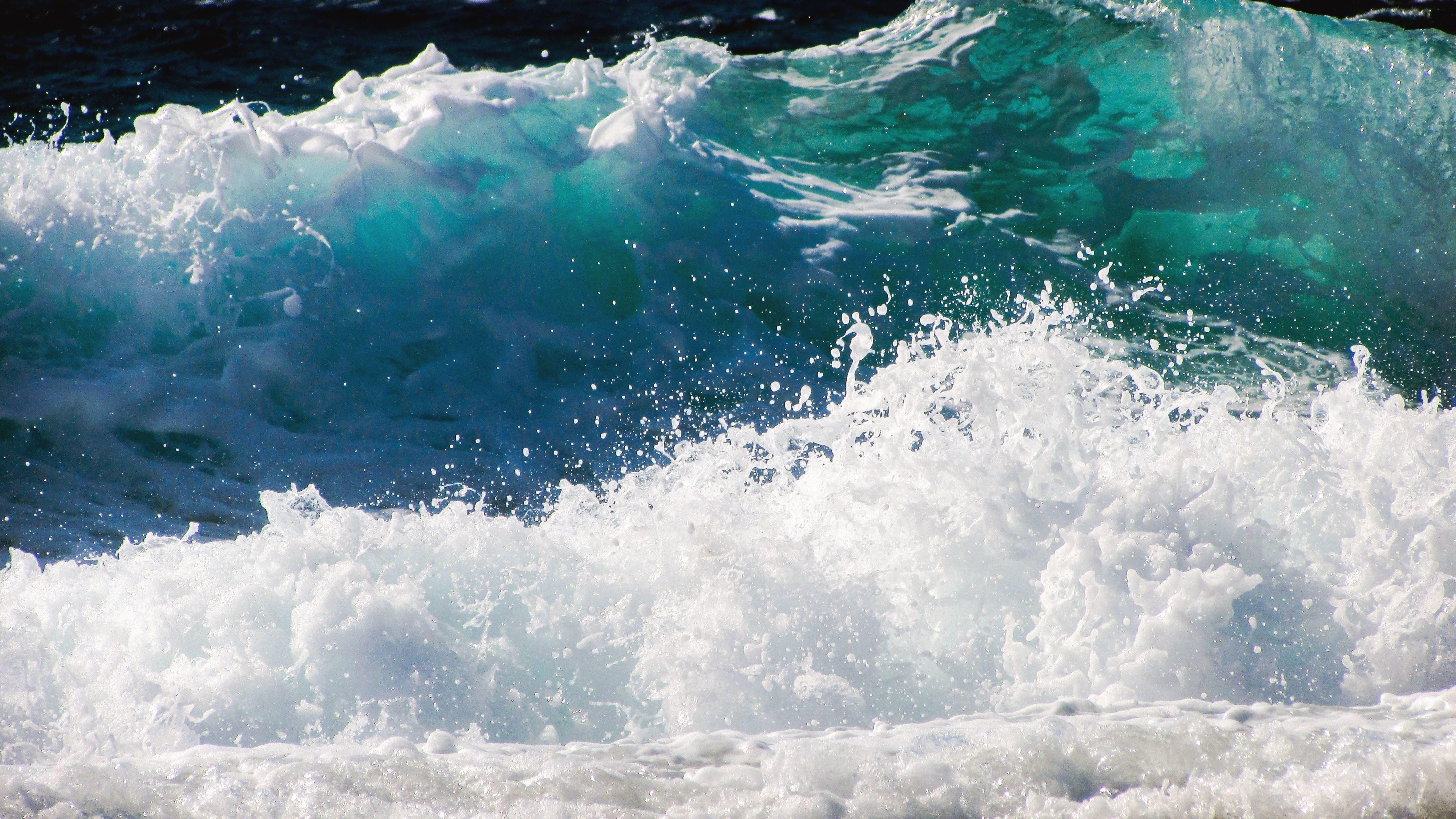 Ultra Hd Desktop Wallpapers Free Picture Wave Sea Foam Water
