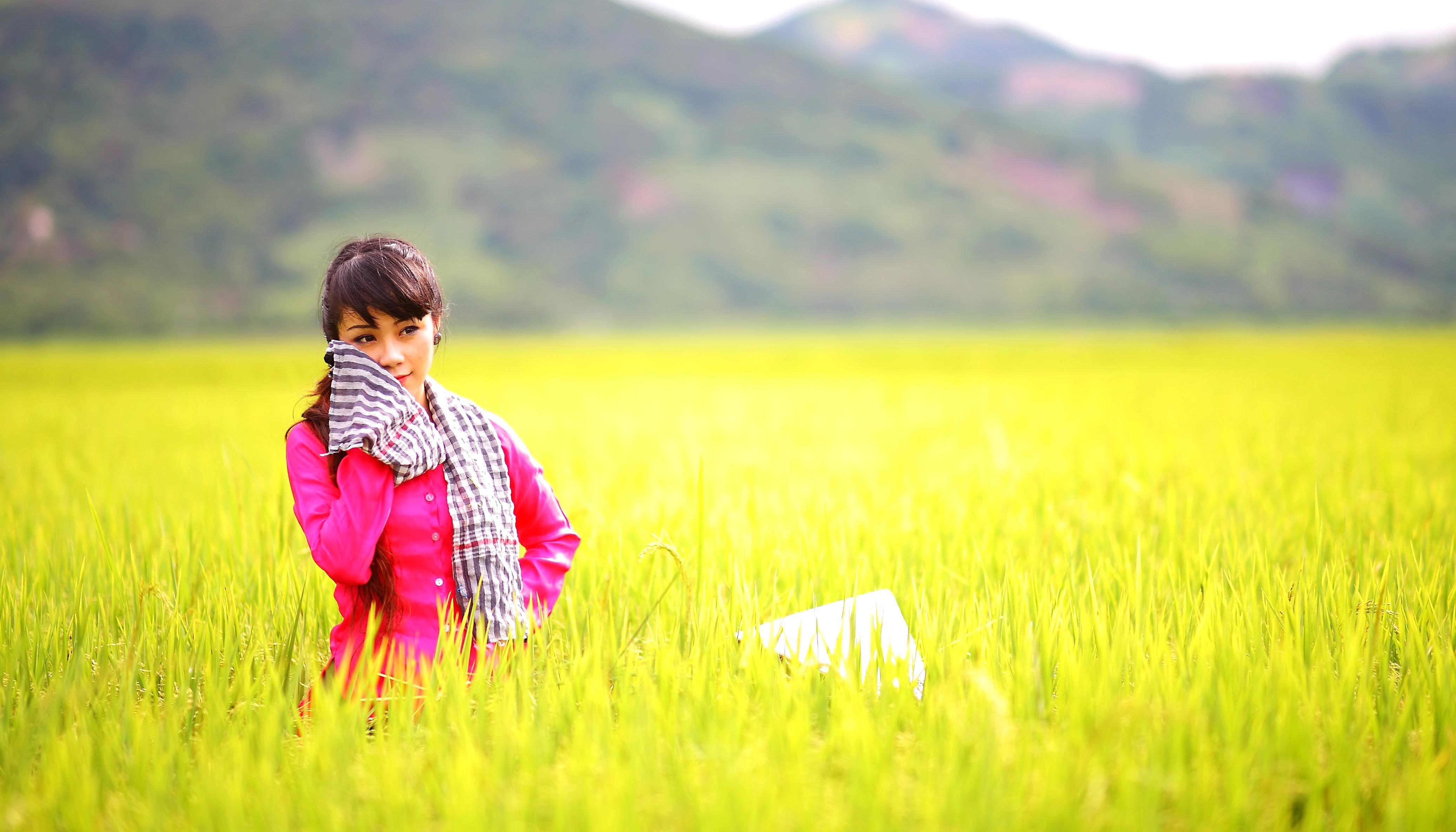 Attractive Girl Wallpaper Free Picture Field Nature Grass Girl Meadow