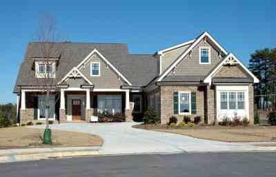 Free picture: home, house, facade, driveway, suburb, suburban, asphalt, entrance, lawn