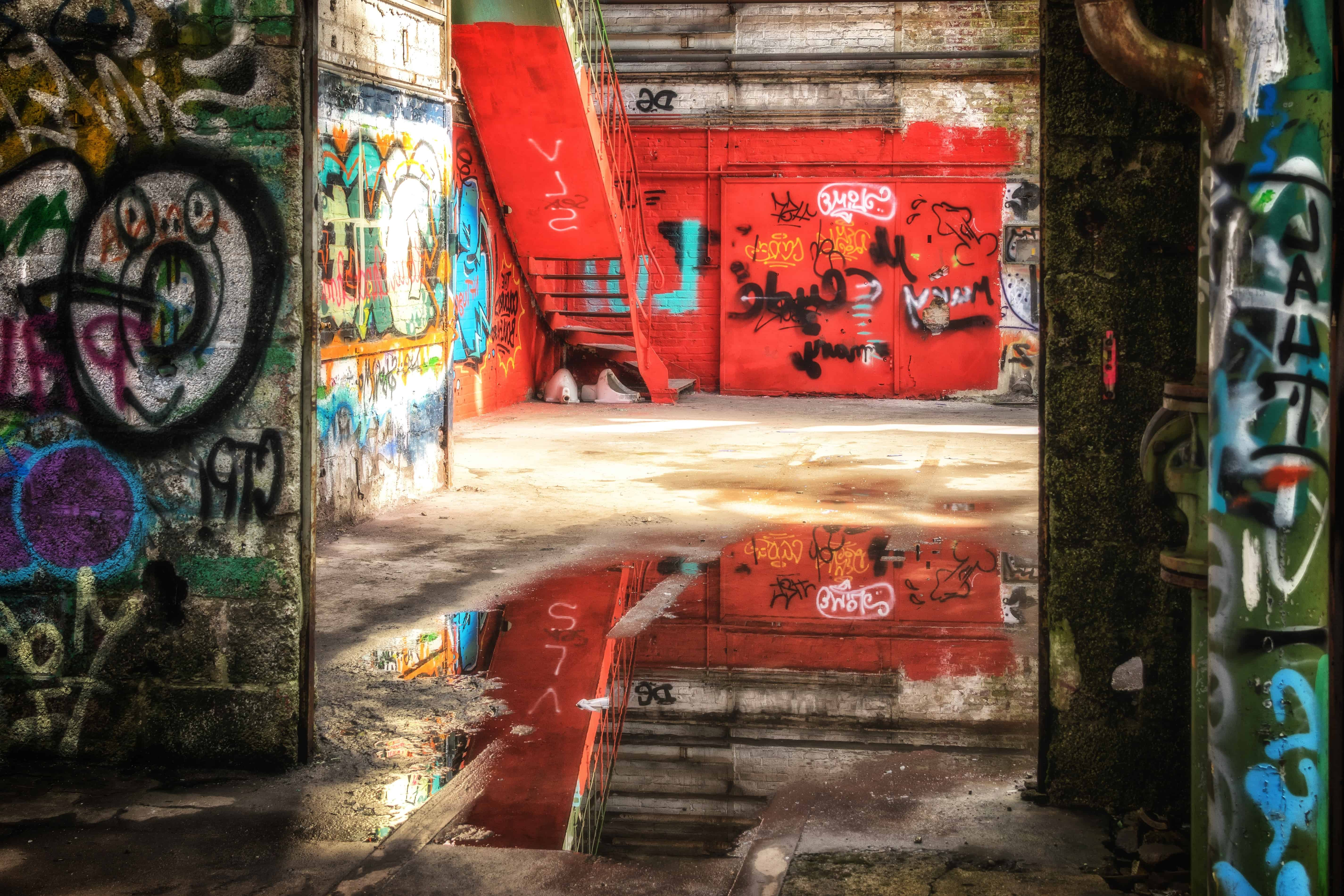 Urban Wall Free Picture: Water, Reflection, Drawing, Warehouse