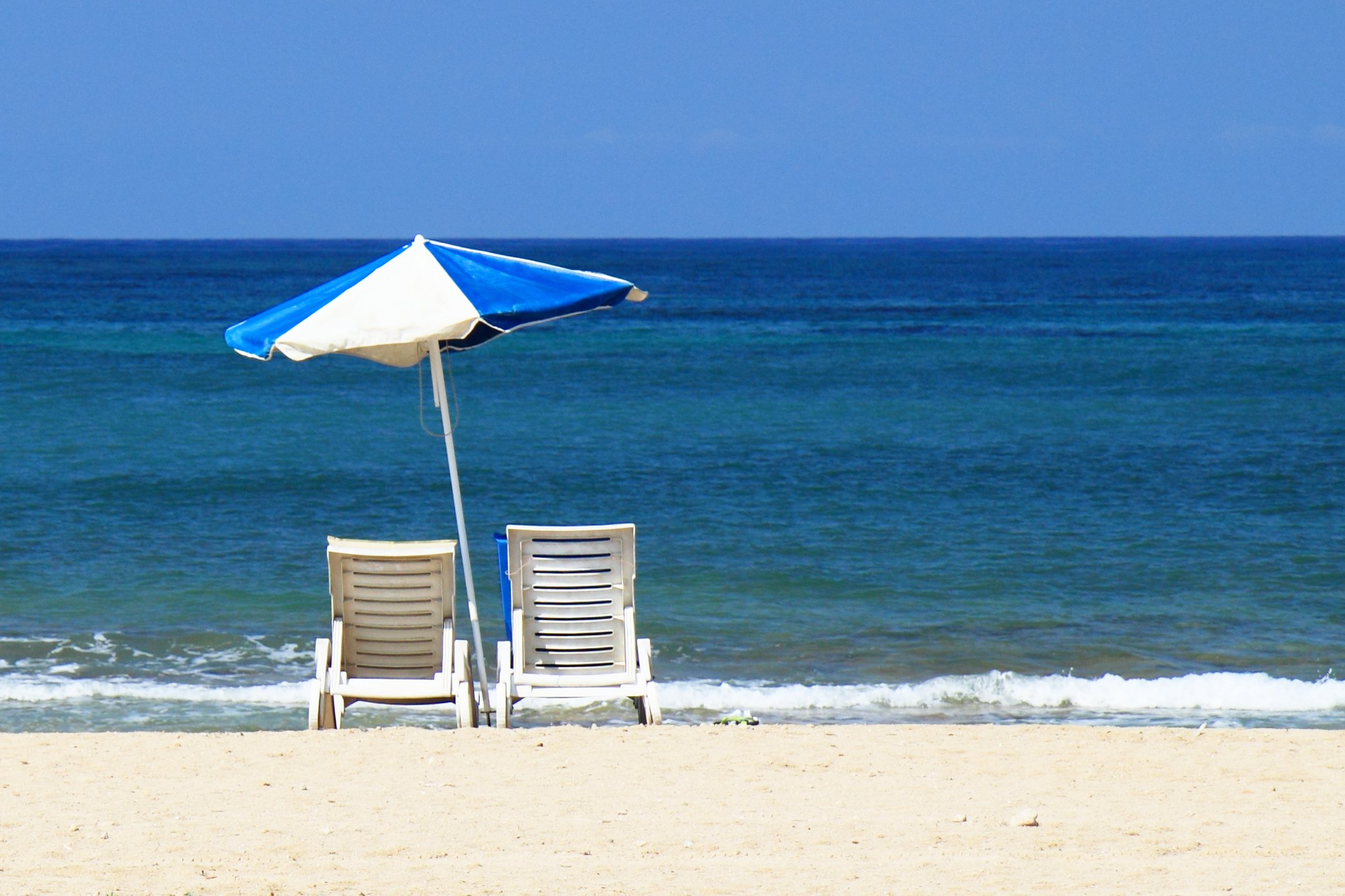 Parasol And Chairs On The Beach Free Image Download