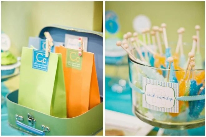 Modern Alphabet First Birthday Pizzazzerie - blue and green birthday party