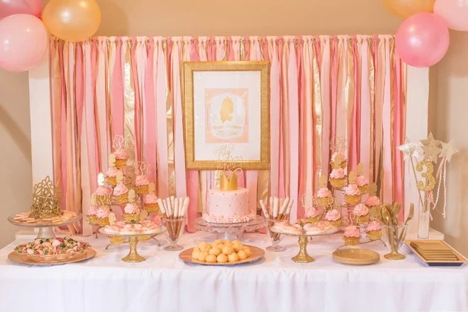 Pink and Gold Princess 3rd Birthday Party! Pizzazzerie - birthday party design