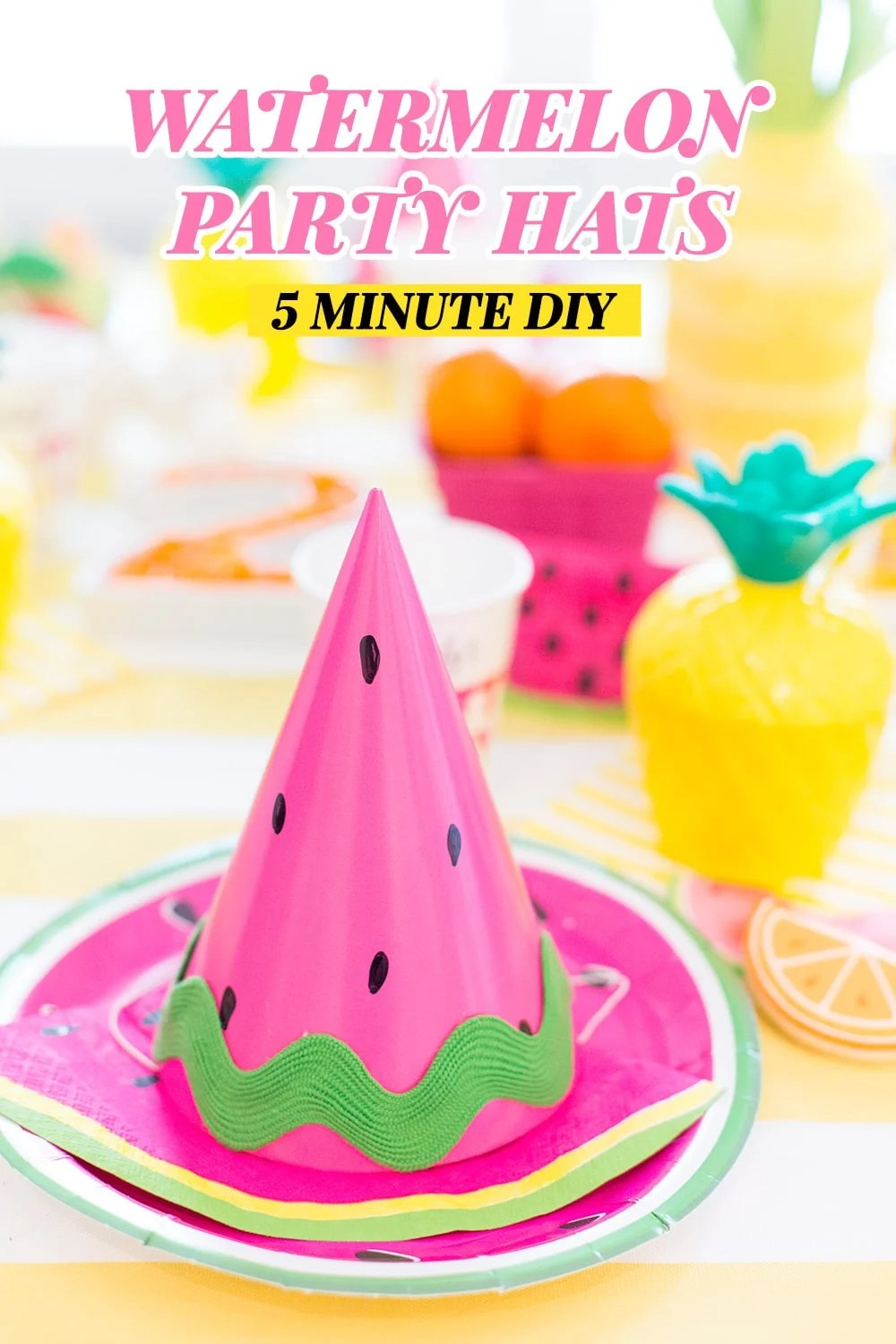 Diy Party Diy Watermelon Party Hat Video Pizzazzerie