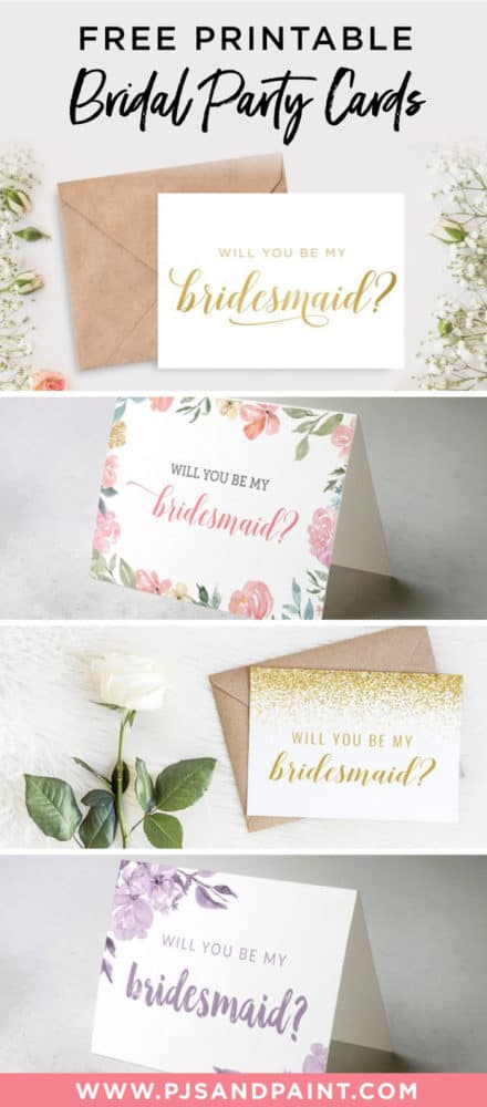 Free Printable Will You Be My Bridesmaid Cards - Pjs and Paint