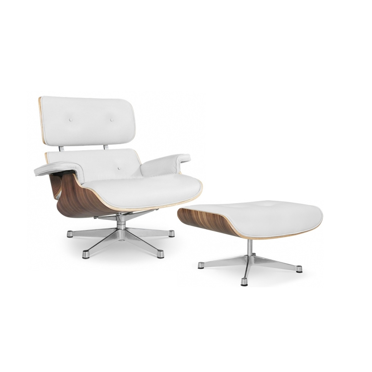 Eames Replica Replica Eames Lounge Chair With Ottoman White Italian Leather