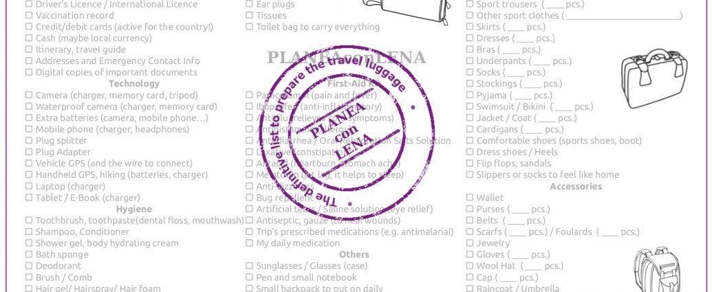 Travel Checklist, Pack your bag More than 100 things to check!