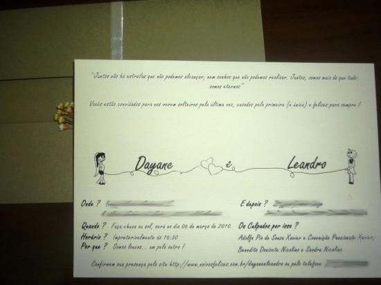 Convite de casamento feito em casa.