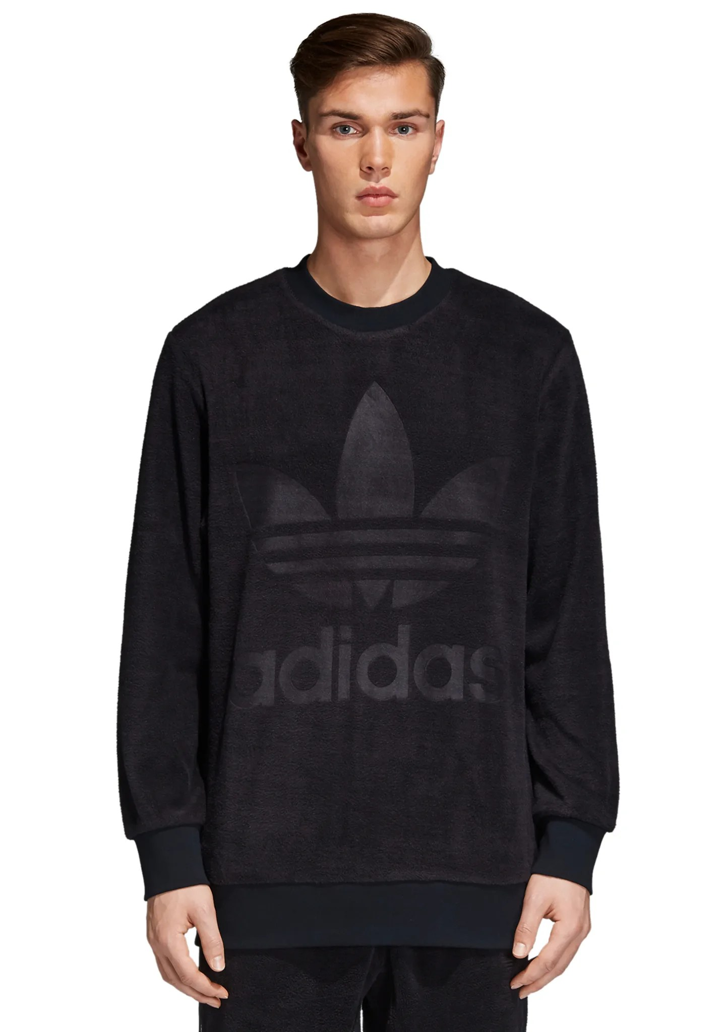 Adidas Sweatshirt Schwarz Herren Adidas Originals Velour Crew Sweatshirt For Men Black