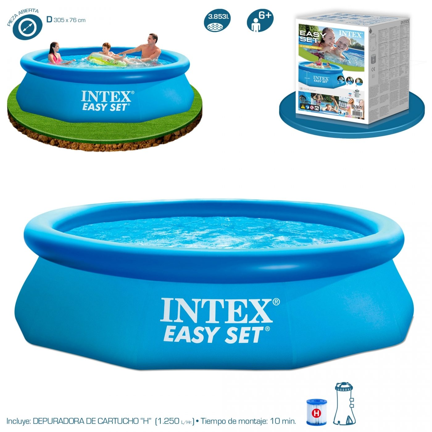 Piscina Intex 6000 Litros Medidas Piscina Hexagonal Easy Set 305 X 76 Cm Con Depuradora