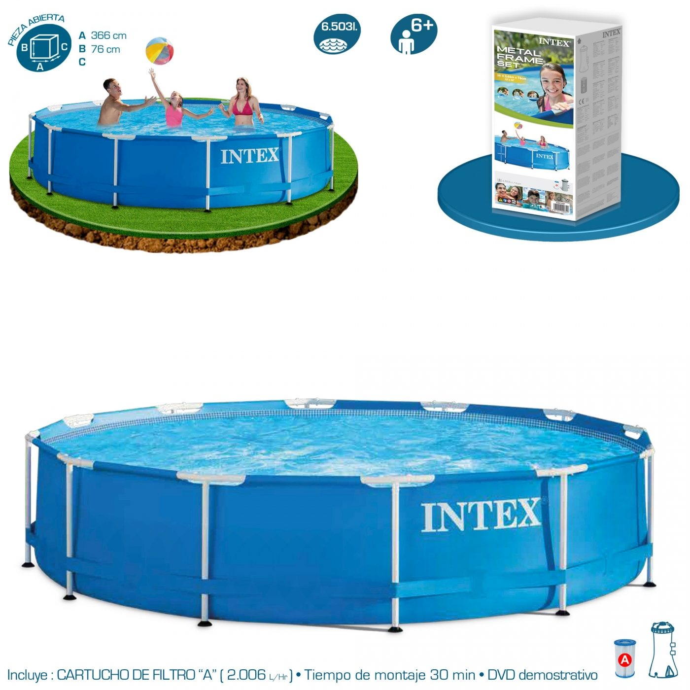Intex Piscinas Acessorios Piscina Desmontable Intex And Depuradora 366x76 Cm 6 503 L