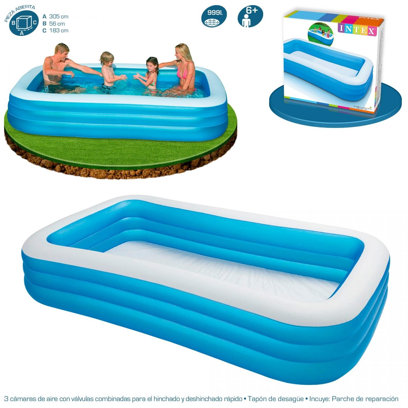Piscina Intex Familiar Piscina Blanca Y Azul 305 X 183 X 56 Cm Intex En Planeta