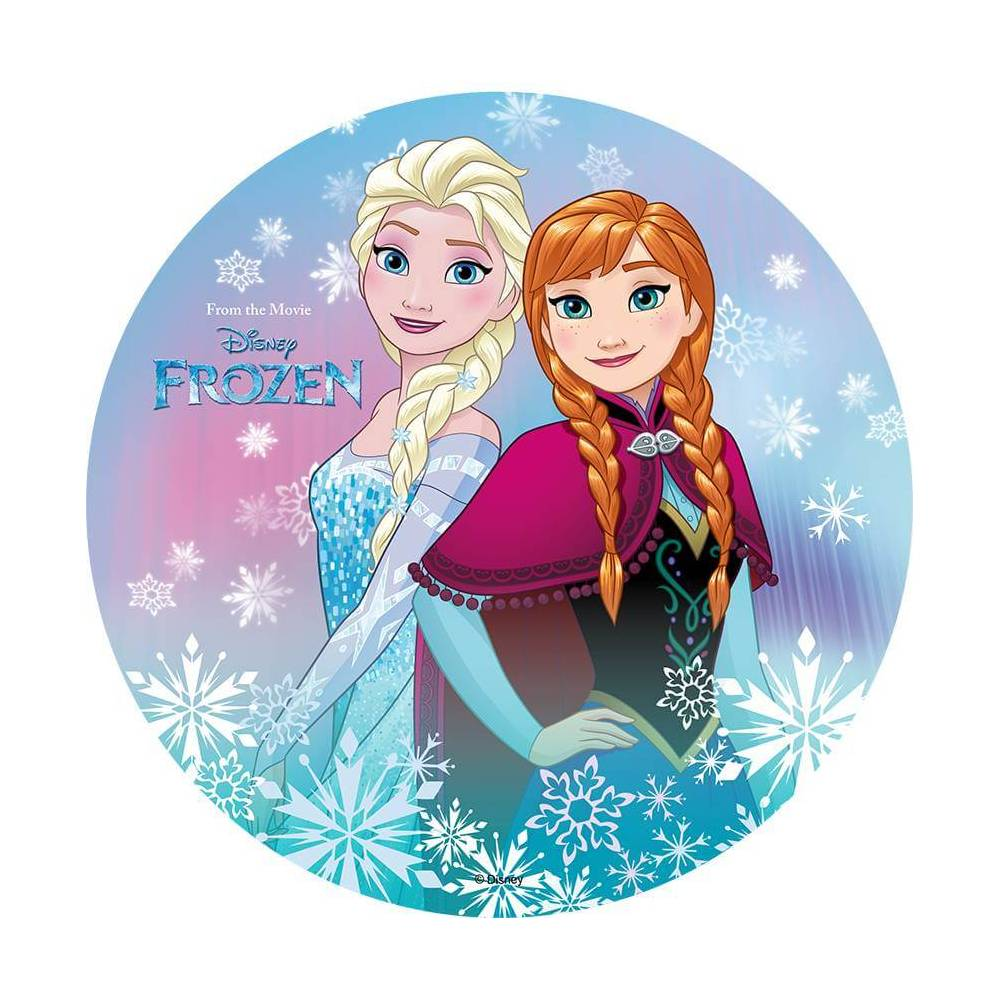 Elsa Anna Edible Wafer Disc Frozen Elsa And Anna Back To Back Planete Gateau Sarl Kitay