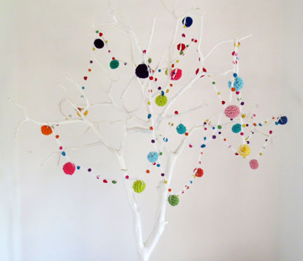 crochet ball chain on tree