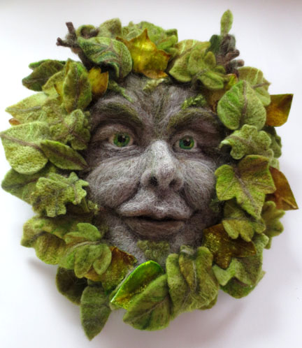 Needlefelt sculpture - Green Man - English Folklore
