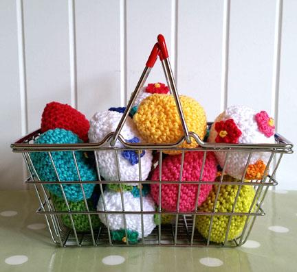crochet eggs in a basket