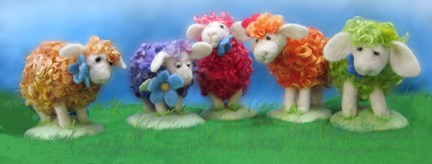 Flock of needlefelt sheep - Planet Penny