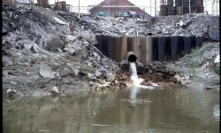 Industrial waste discharges into the Cuyahoga River, 1973.
