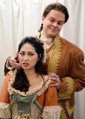 Haeran Hong as Susanna and Sean Anderson as Count Almaviva in Marriage of Figaro. Photo courtesy of Jessi Franko.