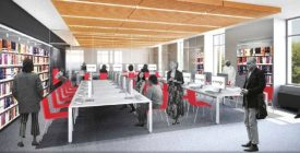 A rendering of renovated space on the second floor of the Princeton Public Library.