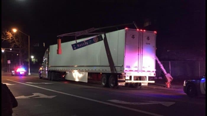 The truck after it hit the traffic light at the intersection of Nassau Street and Washington Road. Photo by Claudine Collins.