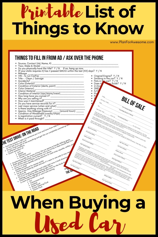 Printable List of Things to Know When Buying a Used Vehicle