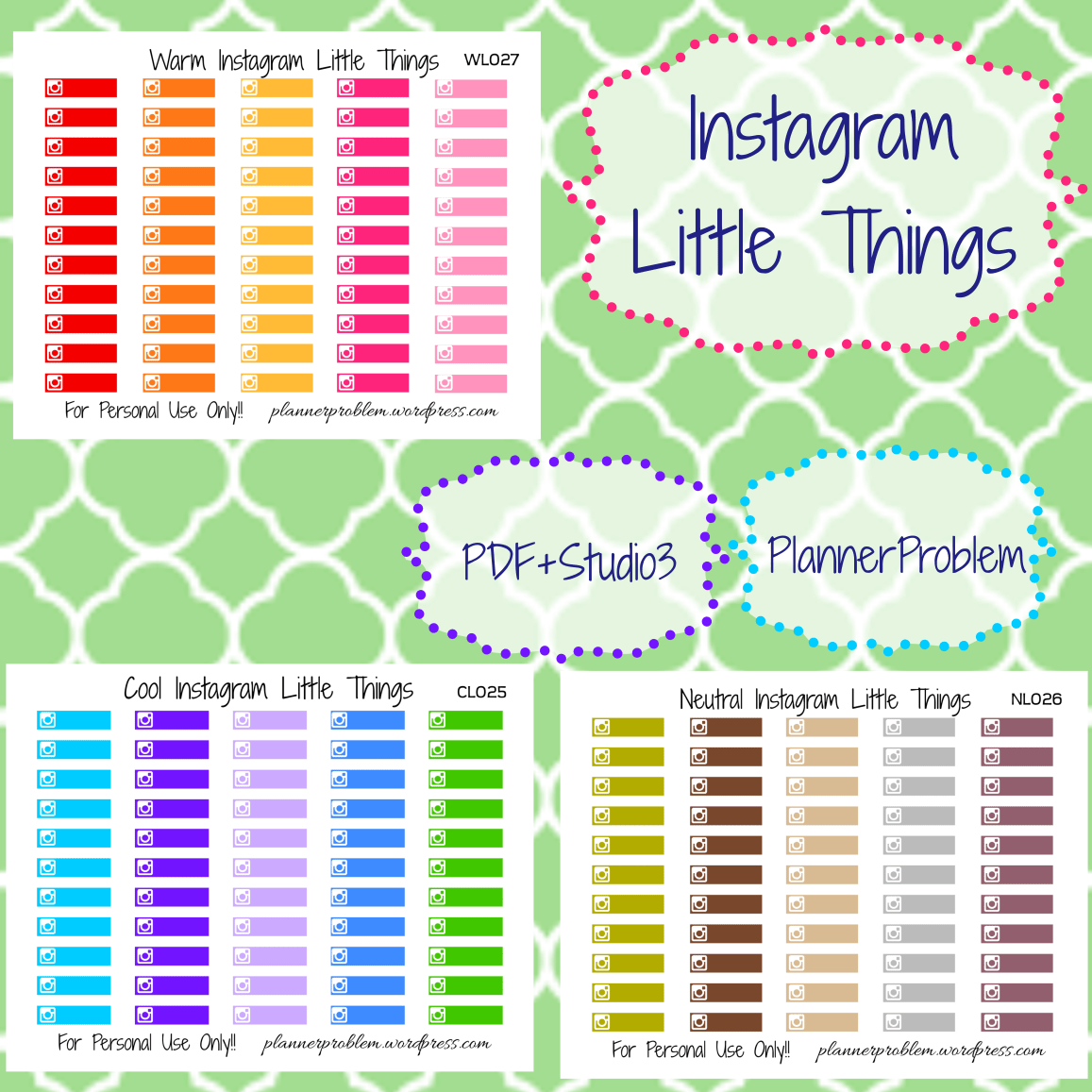Printable Planner Stickers Student Multicolor Instagram Little Things Free Printable