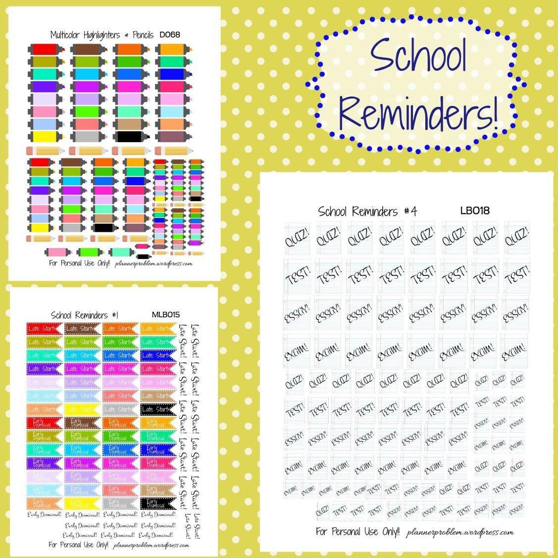 Printable Planner Stickers Student School Reminders Free Printable Planner Stickers