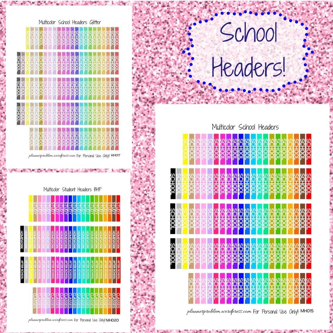 Printable Planner Stickers Student Multicolor School Headers Free Printable Planner