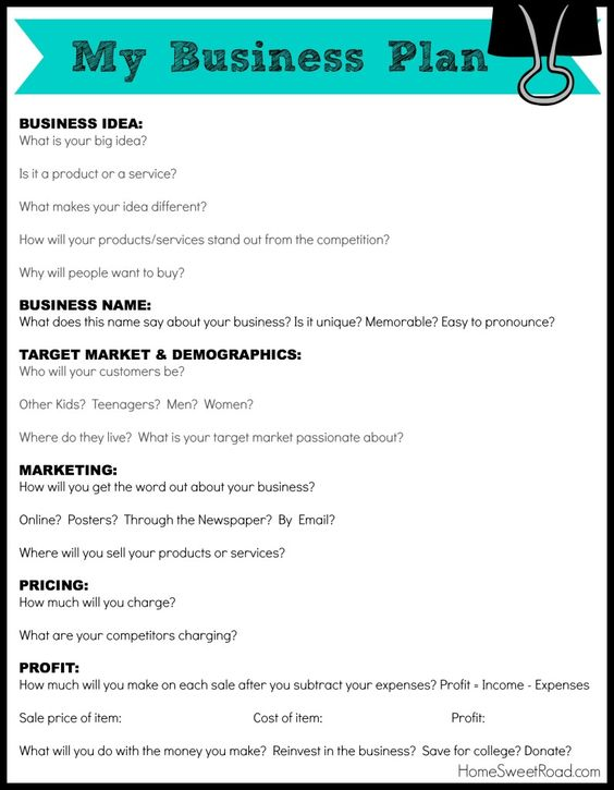 Business Plans for Kids Planning Business Strategies - business plans