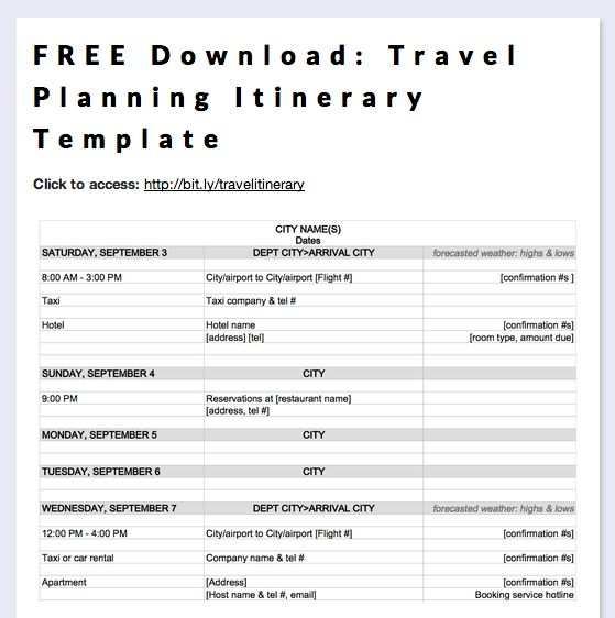 Business Itinerary Templates for Word Planning Business Strategies - business itinerary template