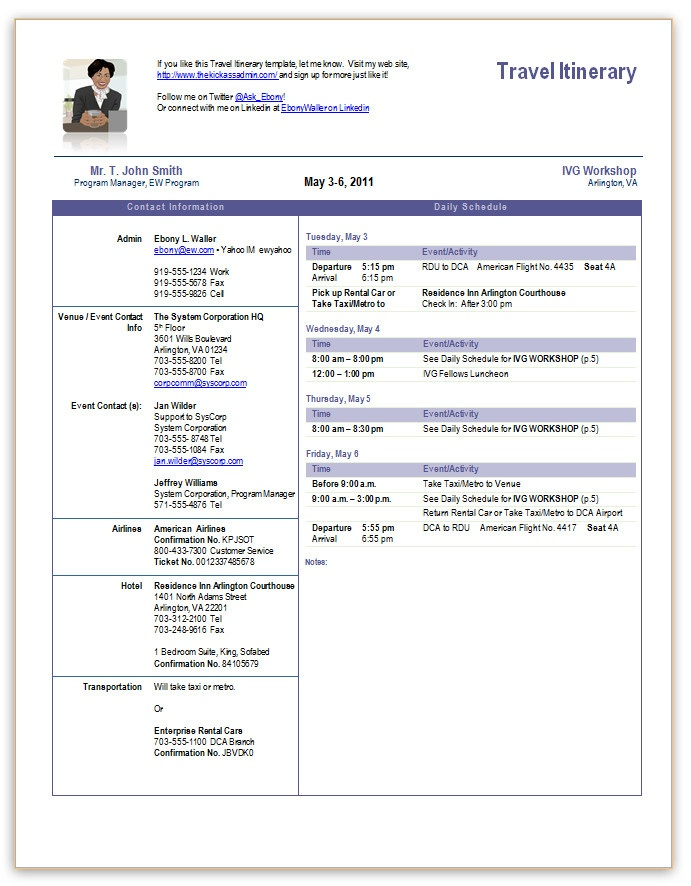 Business Itinerary Templates for Word Planning Business Strategies